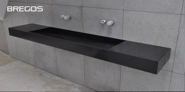 Blat łazienkowy Kerrock Black ze zintegrowaną umywalką