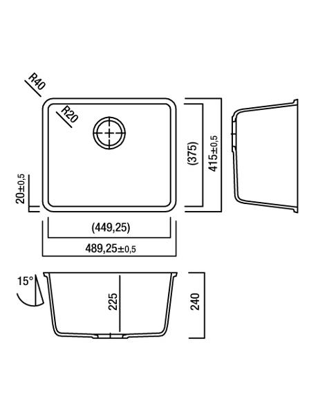 Zlewozmywak kuchenny solid surface Lg Hi-Macs  CS449RL