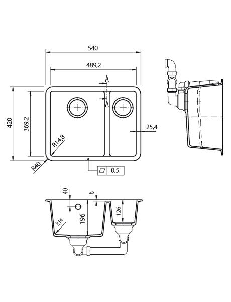 Zlewozmywak kuchenny solid surface Lg Hi-Macs  CS490D