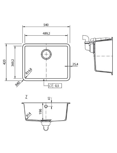 Zlewozmywak kuchenny solid surface Lg Hi-Macs  CS490R